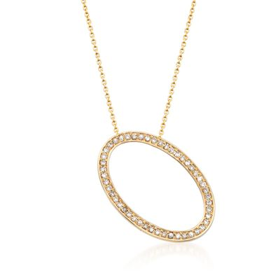 .36 ct. t.w. Diamond Open Oval Pendant Necklace in 14kt Yellow Gold, , default