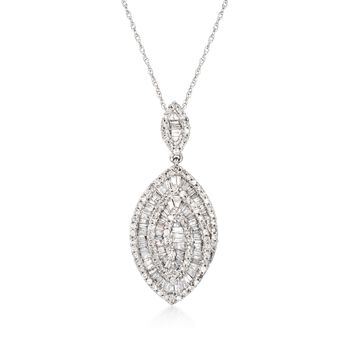 """.89 ct. t.w. Baguette and Round Diamond Marquise Pendant Necklace in 14kt White Gold. 18"""", , default"""