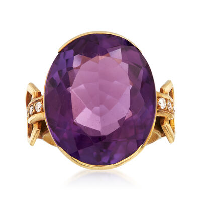 C. 1950 Vintage 17.00 Carat Amethyst and .10 ct. t.w. Diamond Ring in 18kt Yellow Gold, , default