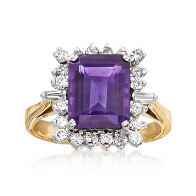 C. 1980 Vintage 3.10 Carat Amethyst and .50 ct. t.w. Diamond Ring in 18kt Yellow Gold