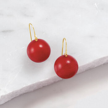 12mm Red Coral Bead Drop Earrings in 14kt Yellow Gold