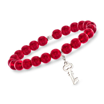 Italian Red Murano Glass Bead Stretch Bracelet with Sterling Silver Key Charm, , default