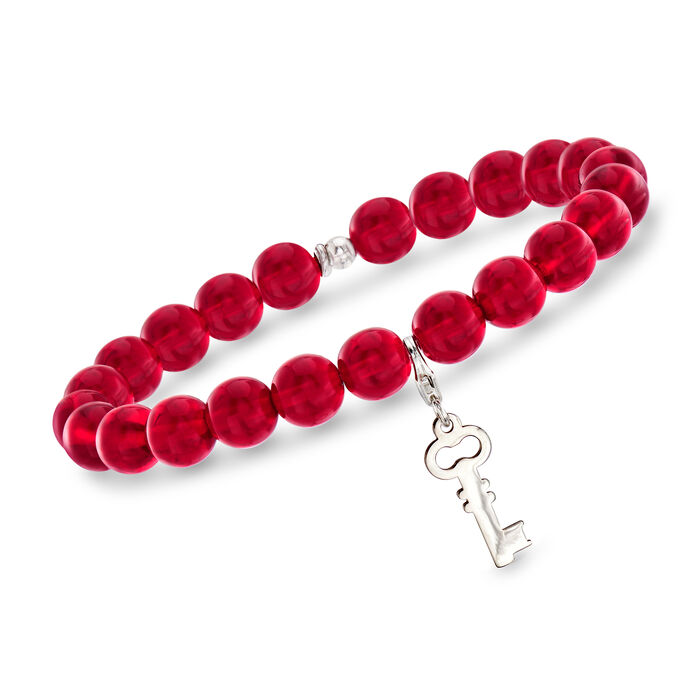 "Italian Red Murano Glass Bead Stretch Bracelet with Sterling Silver Key Charm. 7"", , default"