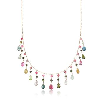 "20.50 ct. t.w. Multicolored Tourmaline Fringe Necklace in 14kt Yellow Gold. 16"", , default"