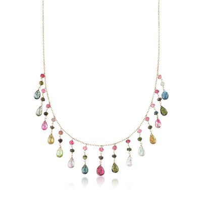 20.50 ct. t.w. Multicolored Tourmaline Fringe Necklace in 14kt Yellow Gold, , default