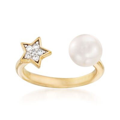 7.5-8mm Cultured Pearl and Star Open-Front Ring With CZ Accents in 18kt Yellow Gold Over Sterling Silver, , default