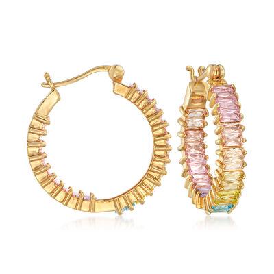 6.72 ct. t.w. Multicolored CZ Inside-Outside Hoop Earrings in 18kt Gold Over Sterling
