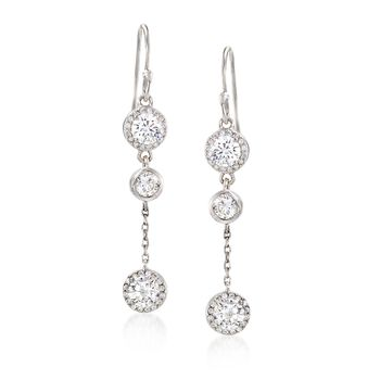 2.60 ct. t.w. Three Round CZ Drop Earrings in Sterling Silver , , default