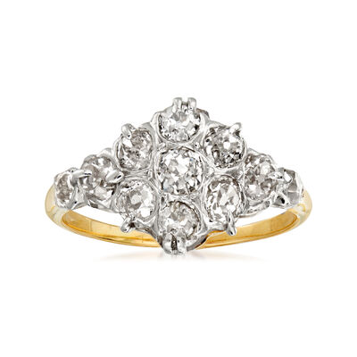 C. 1950 Vintage 1.20 ct. t.w. Diamond Cluster Cocktail Ring in Platinum with 14kt Yellow Gold, , default