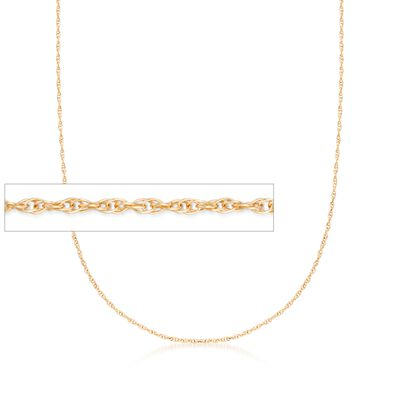 Italian 1mm 14kt Yellow Gold Rope Chain Necklace, , default