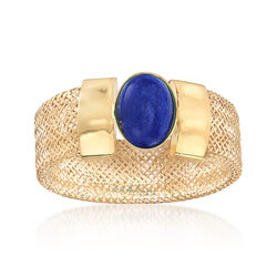 Italian Blue Lapis Mesh Stretch Ring in 14kt Yellow Gold, , default