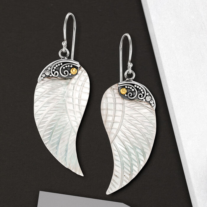 Mother-Of-Pearl Bali-Style Wing Drop Earrings in Sterling Silver with 18kt Gold