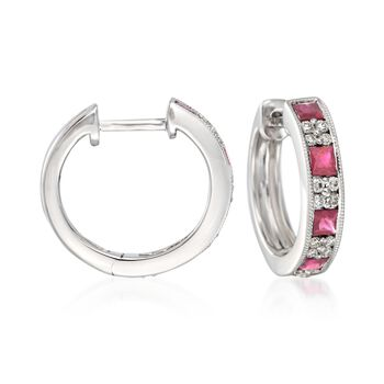 """Gregg Ruth .90 ct. t.w. Ruby and .24 ct. t.w. Diamond Hoop Earrings in 18kt White Gold. 1/2"""", , default"""