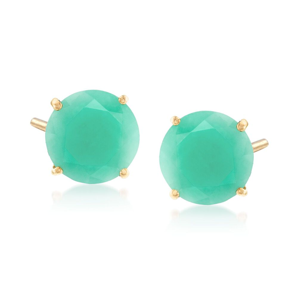 T W Emerald Stud Earrings In 14kt Yellow Gold Default