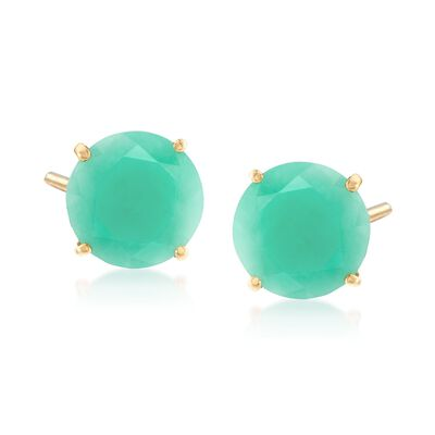 5.00 ct. t.w. Emerald Stud Earrings in 14kt Yellow Gold, , default