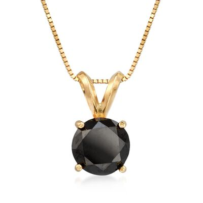2.00 Carat Black Diamond Solitaire Necklace in 14kt Yellow Gold, , default