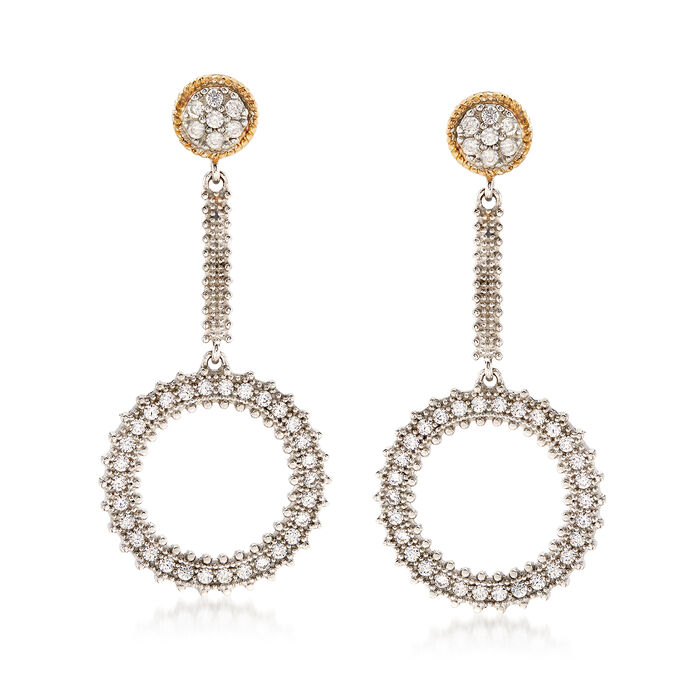.80 ct. t.w. CZ Open Circle Drop Earrings in Sterling Silver and 14kt Gold