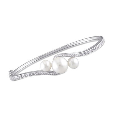 6-9.5mm Cultured Pearl and .80 ct. t.w. Synthetic White Sapphire Bypass Bangle Bracelet in Sterling Silver, , default