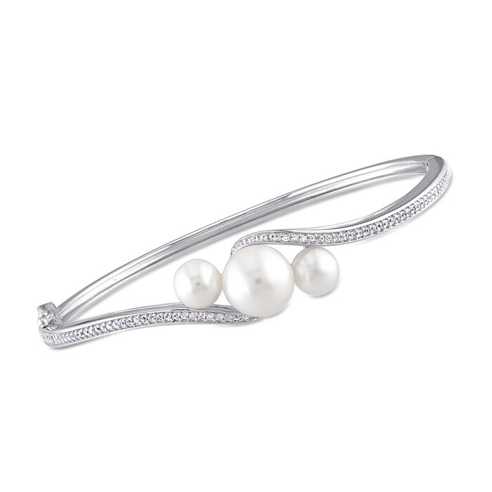 """6-9.5mm Cultured Pearl and .80 ct. t.w. Synthetic White Sapphire Bypass Bangle Bracelet in Sterling Silver. 7"""", , default"""