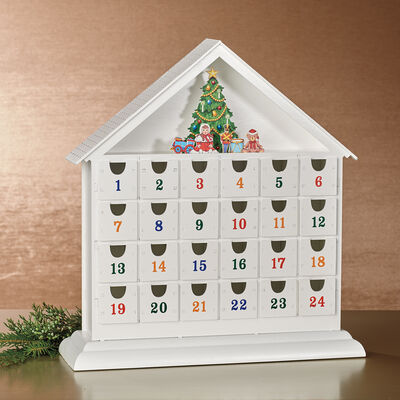Reed & Barton White Wooden Advent Calendar, , default