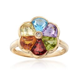 3.30 ct. t.w. Multi-Stone Flower Ring With Diamond Accent in 14kt Yellow Gold, , default