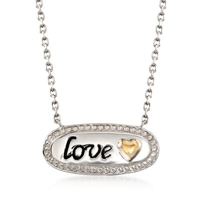 """Sterling Silver and 14kt Gold Inspirational """"Love"""" Necklace, , default"""