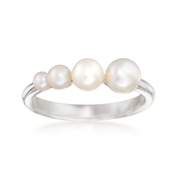 2.5mm-6mm Graduated Cultured Pearl Ring in Sterling Silver, , default
