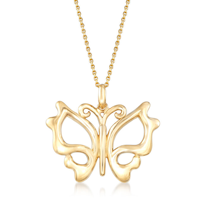 14kt Yellow Gold Cut-Out Butterfly Pendant Necklace, , default