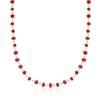 20.00 ct. t.w. Ruby Bead Necklace in 14kt Yellow Gold Over Sterling Silver, , default