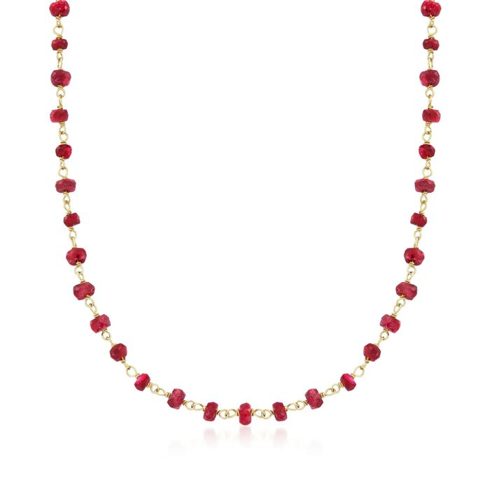 """20.00 ct. t.w. Ruby Bead Necklace in 14kt Yellow Gold Over Sterling Silver. 20"""", , default"""