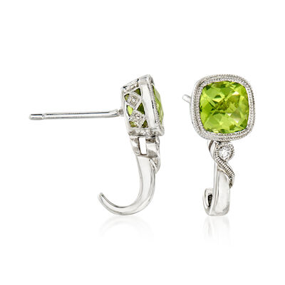 C. 2000 Vintage 1.60 ct. t.w. Peridot J-Hoop Earrings with Diamond Accents in 14kt White Gold, , default