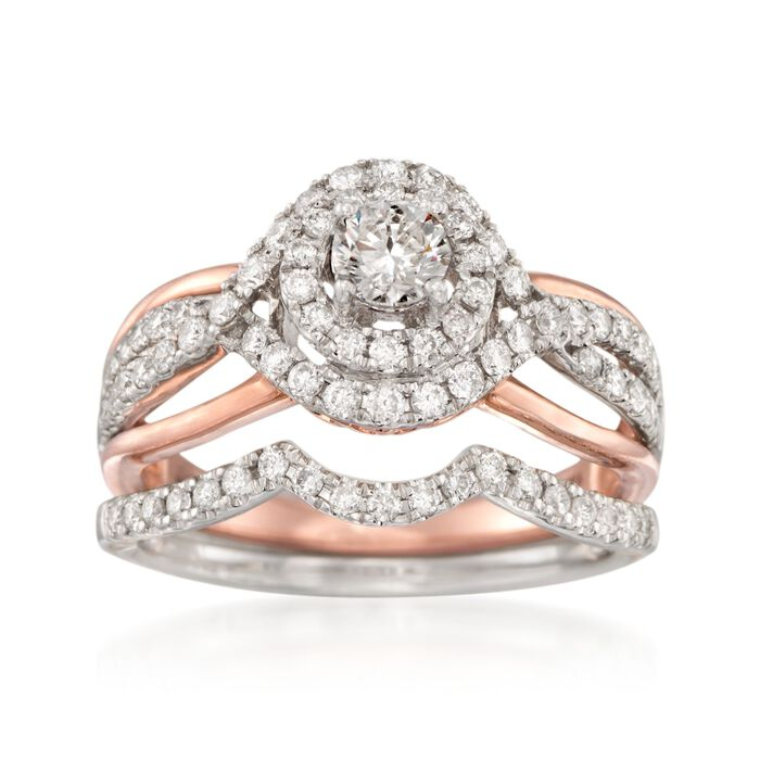 1.00 ct. t.w. Diamond Bridal Set: Engagement and Weddings Rings in 14kt Two-Tone Gold