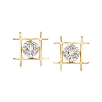 .57 ct. t.w. Diamond Illusion Earrings in 14kt Yellow Gold, , default