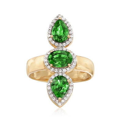2.40 ct. t.w. Green Diopside and .30 ct. t.w. White Zircon Frame Ring in 18kt Gold Over Sterling, , default