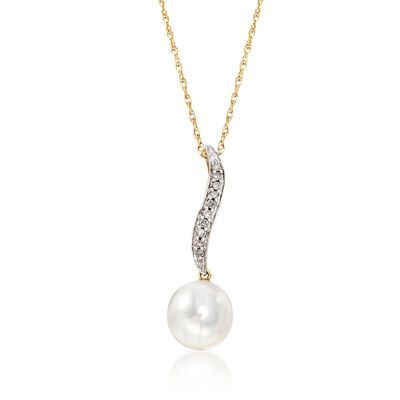 9mm Cultured Pearl Drop Necklace with Diamond Accents in 14kt Yellow Gold, , default
