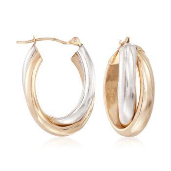 """14kt Two-Tone Gold Crisscross Hoop Earrings. 7/8"""", , default"""