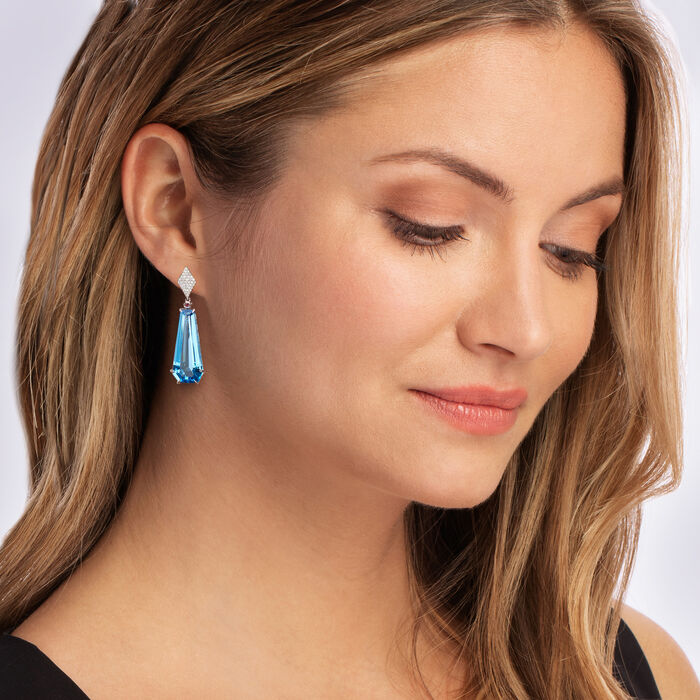 20.00 ct. t.w. Swiss Blue Topaz and .24 ct. t.w. Diamond Drop Earrings with Pink Tourmaline Accents in 14kt White Gold