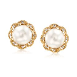 11-11.5mm Cultured Mabe Pearl Earrings in 14kt Yellow Gold, , default