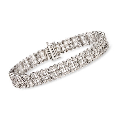 3.00 ct. t.w. Diamond Three-Row Bracelet in Sterling Silver