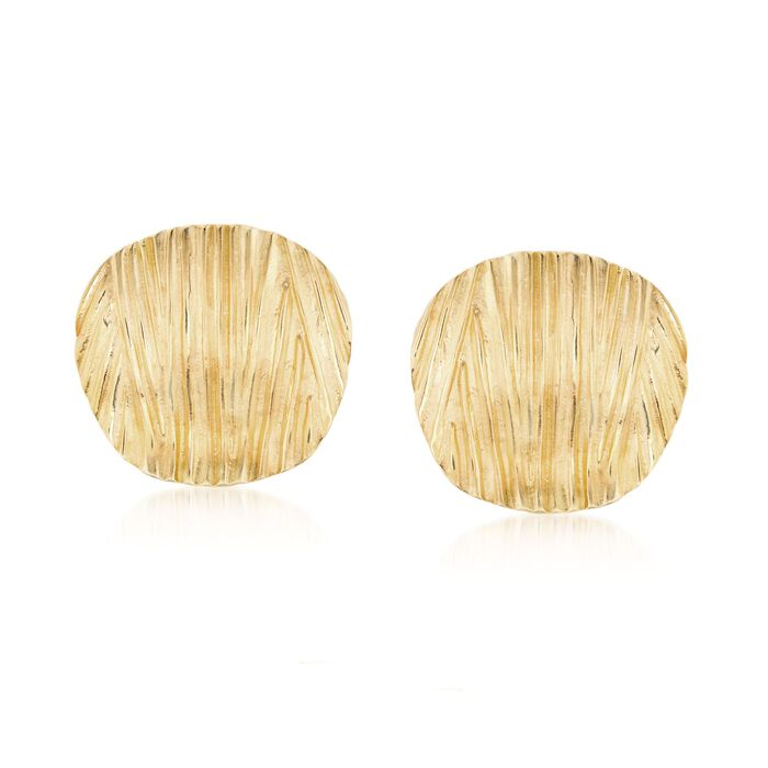 Italian 18kt Gold Over Sterling Silver Textured Disc Earrings, , default