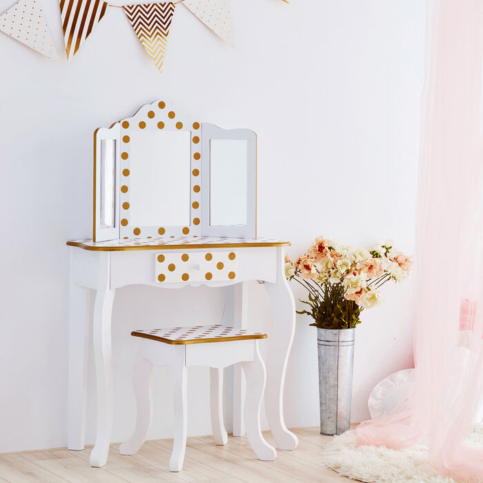 Child's White and Pink Polka Dot Gisele Vanity Table and Stool Set with Mirror, , default