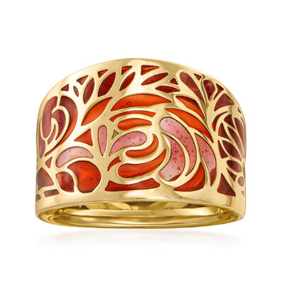 Italian Multicolored Enamel Filigree Ring in 14kt Yellow Gold