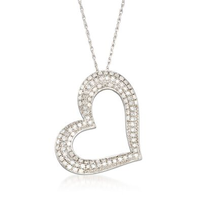 1.00 ct. t.w. Pave Diamond Open-Space Heart Necklace in Sterling Silver, , default