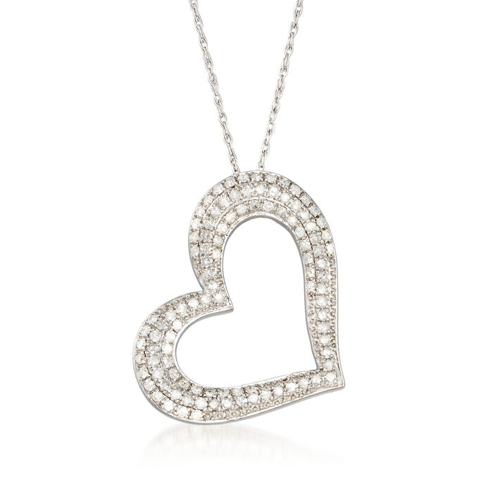 """1.00 ct. t.w. Pave Diamond Open-Space Heart Necklace in Sterling Silver. 18"""", , default"""