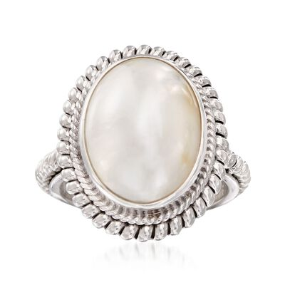 13-18mm Mabe Pearl Balinese Ring in Sterling Silver, , default