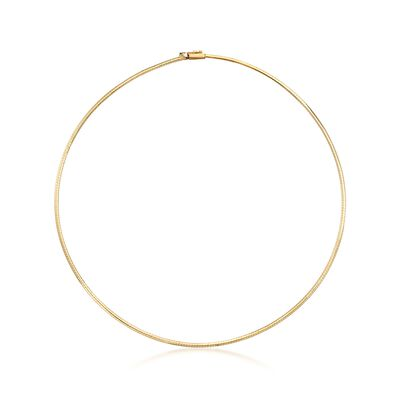 Italian 2mm 18kt Yellow Gold Omega Necklace, , default