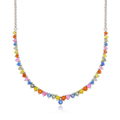 12.00 ct. t.w. Multicolored Sapphire Graduating Necklace in Sterling Silver, , default
