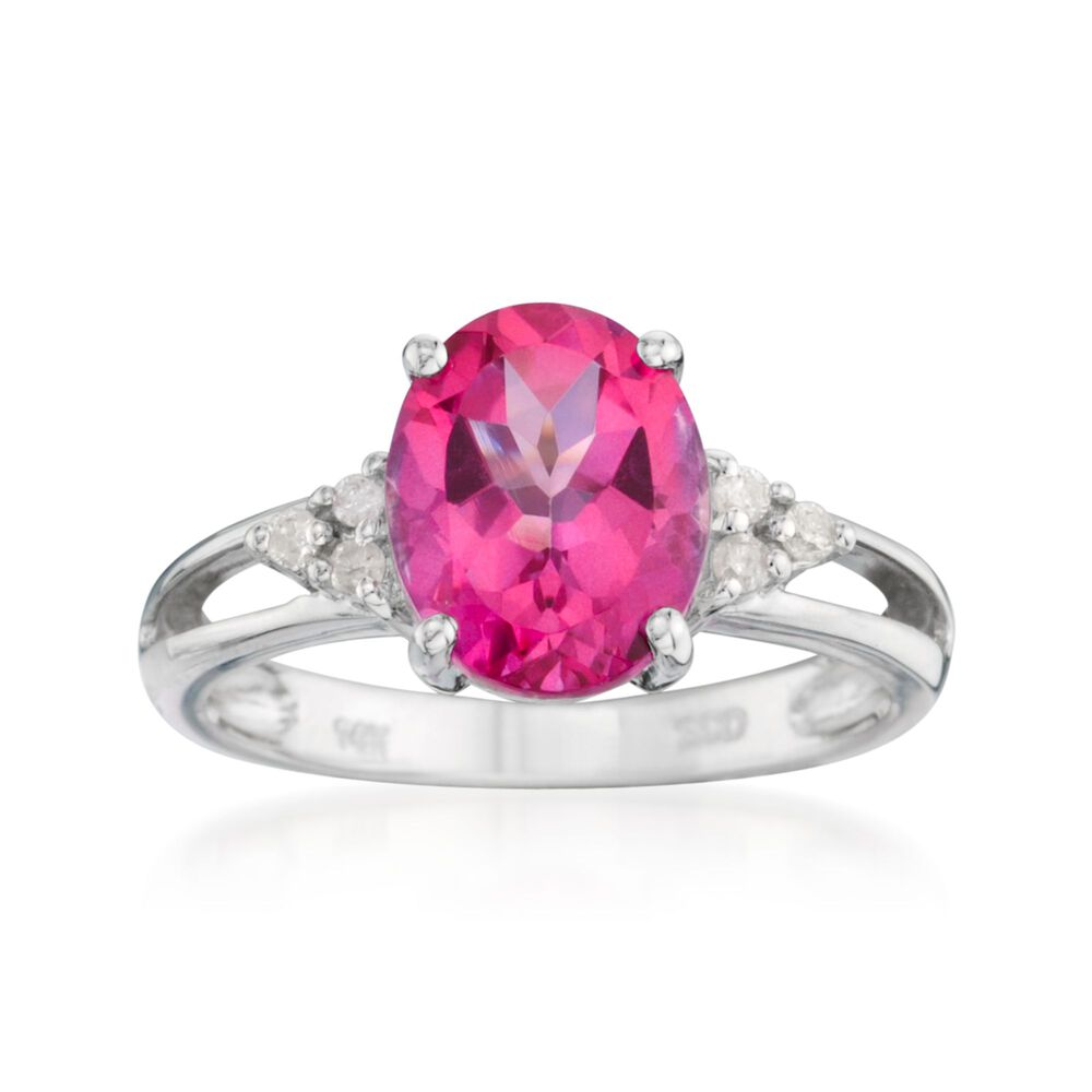2.50 Carat Pink Topaz Ring With Diamonds in 14kt White Gold | Ross ...