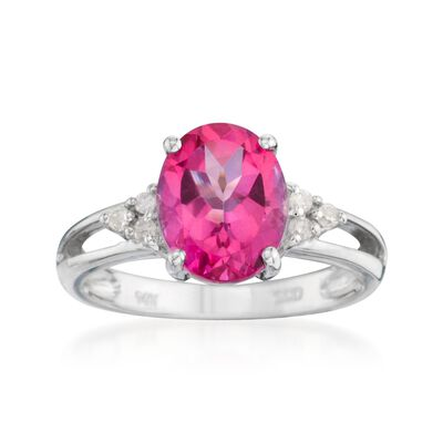 2.50 Carat Pink Topaz Ring With Diamonds in 14kt White Gold, , default