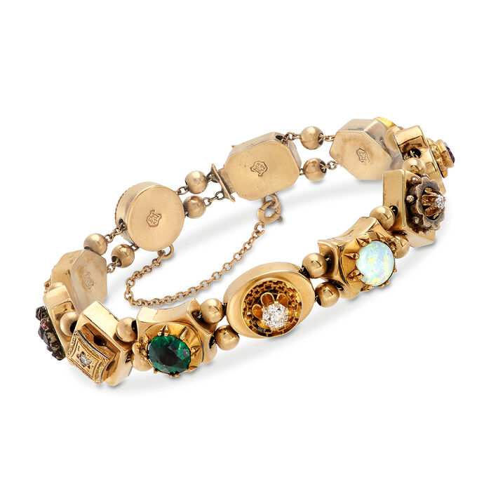 "C. 1960 Vintage Opal and 2.00 ct. t.w. Multi-Stone Bracelet with Cultured Pearl in 14kt Yellow Gold. 7"", , default"